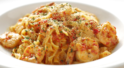 Prawns Fettuccini with Chili Cream