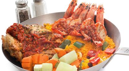 grilled chicken with peri peri prawns