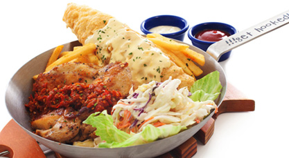 grilled peri-peri chicken with artic fish